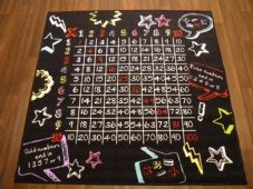 NON SLIP BARGAIN PRICE MATS/RUG MULTIPLICATION BLACK/WHITE/RED NUMBERS 100CMSQ